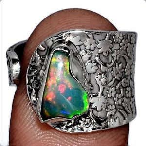 Serious fire opal adjustable sterling silver ring